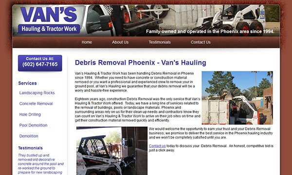 Van's Hauling - Contractor Websites