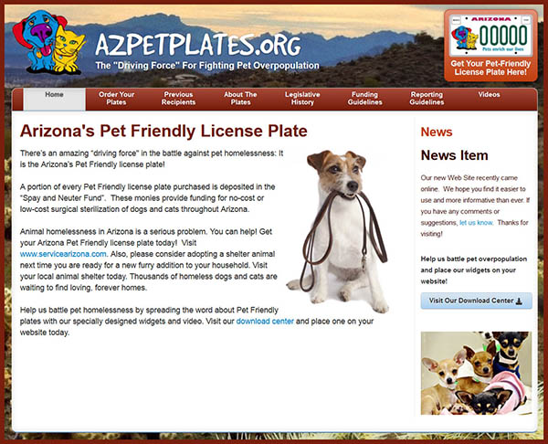 Cutest Website - AZPetPlates.org