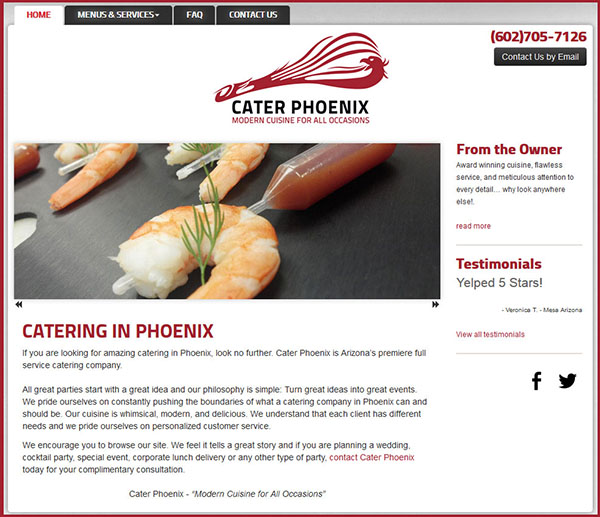 Website for Caterer